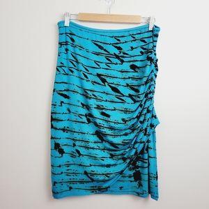 Heyne Bogut | Blue Tie-Dye Ruched Boho Midi Skirt
